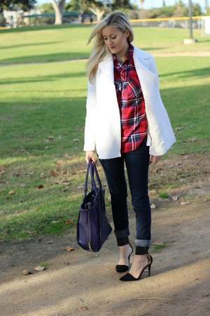 plaid tartan Old Navy blouse - AG Jeans jeans