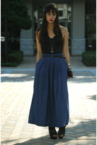 navy maxi length vintage skirt - black vintage blouse - black Dollhouse heels