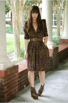 maroon paisley print thrifted vintage dress - brown litas Jeffrey Campbell boots