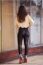 Light-yellow-vintage-blouse-black-american-apparel-pants