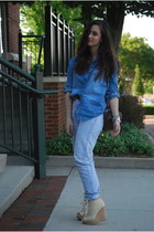 blue Guess jeans - beige Aldo wedges