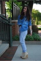 blue Guess jeans - beige Aldo wedges