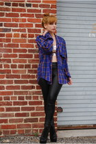 deep purple plaid vintage blouse - black lace up boots Jeffrey Campbell boots