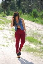 maroon vintage pants - tan H&M bag - silver Forever 21 bra