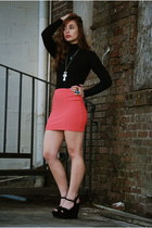coral H&M skirt - black turtleneck sweater - black Steve Madden wedges