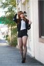 Black-cut-offs-levis-shorts-black-polka-dot-vintage-by-shevahh-cardigan