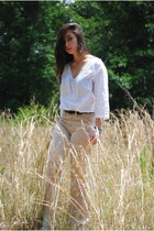 white Aldo Accessories blouse - tan H&M pants