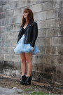 Black-leather-vintage-jacket-light-blue-tutu-petticoat-skirt