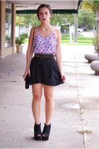black thrifted skirt - periwinkle floral silk random top - black Wetseal wedges