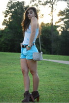 sky blue calvin klein vintage shorts - brown Jeffrey Campbell boots