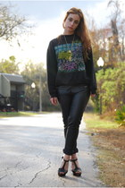 black Vintage by Shevahh sweater - black Forever 21 pants - black pumps