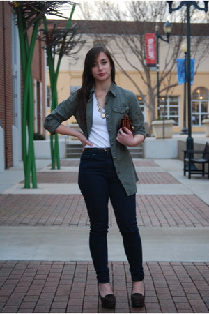 navy Forever 21 jeans - olive green cotton on blouse