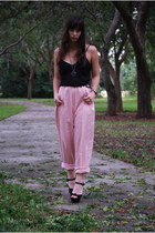 black thrifted blouse - light pink high waisted Vintage by Shevahh pants