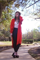 red long cardigan vintage cardigan - white sheer Forever 21 bodysuit