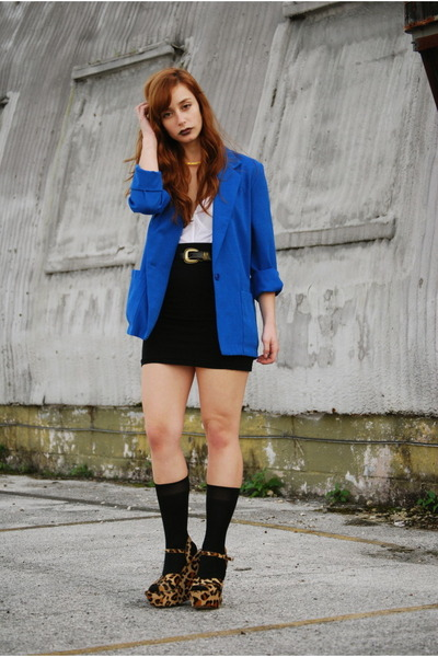 blue cobalt blue Vintage by Shevahh blazer - black high waisted Forever 21 skirt