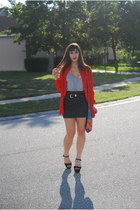 black Aldo Shoes heels - gray Forever 21 dress - red vintage blouse