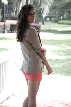 beige blazer - ecote boots - H&M skirt