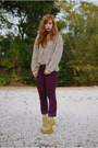 Magenta-corduroy-jcrew-pants-tan-fuzzy-vintage-by-shevahh-sweater