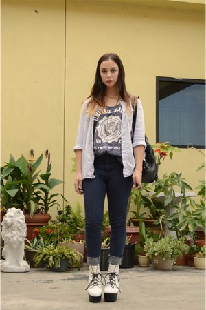 sky blue denim blouse - white tardy boots Jeffrey Campbell boots