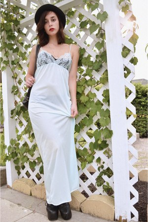 light blue maxi dress vacant moon vintage dress - black bowler hat vintage hat