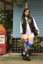 bubble gum tie-dye We Love Colors leggings - black vintage bag