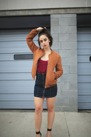 burnt orange leather LF jacket - brick red velvet emma and sam bodysuit