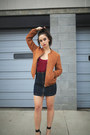 Burnt-orange-leather-lf-jacket-navy-high-waisted-carmar-skirt