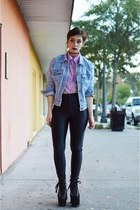 light purple sheer shiny vintage blouse - sky blue vintage denim Gap jacket
