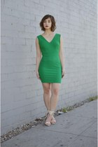 green bodycon v-neck Forever 21 dress - beige ankle strap Charlotte Russe heels