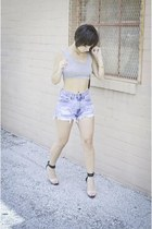 heather gray crop top PERSUNMALL shirt - black clear heels Forever 21 heels