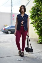 navy vintage vest - brick red high waisted vintage pants