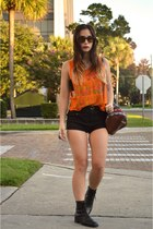 black Urban Outfitters shorts - black lace up vintage boots