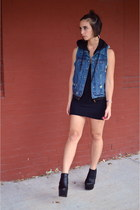 navy hooded white crow vest - black slip dress H&M dress