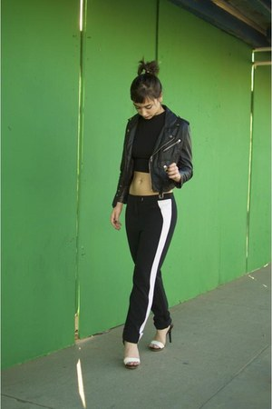 black cropped Nasty Gal jacket - black crop top Boohoo top