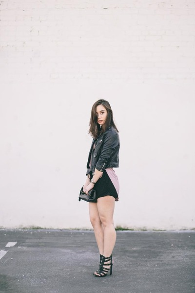 black motorcycle Nasty Gal jacket - black mesh Forever 21 shorts