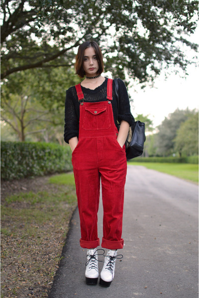 black vacant moon vintage sweater - ruby red vacant moon vintage romper