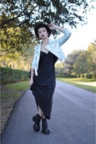 light blue Nasty Gal jacket - black vacant moon vintage boots