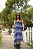 sky blue tie dye vintage dress - black Dr Martens boots