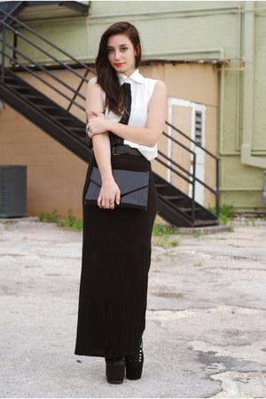 black hellbound UNIF boots - black maxi skirt skirt