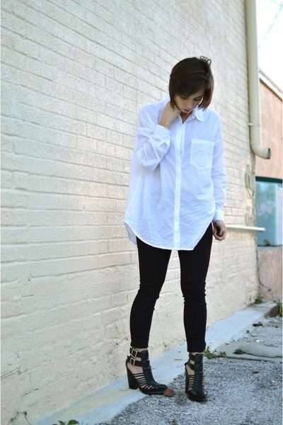 black high waisted Forever 21 jeans - white oversized Forever 21 blouse