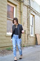 navy boyfriend jeans Forever 21 jeans - black Forever 21 jacket