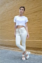 white high waisted Cheap Monday jeans - white crop top Boohoo shirt