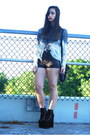 Black-satchel-forever-21-bag-black-faux-leather-h-m-shorts