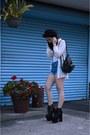 Black-bowler-vintage-hat-black-hellbound-unif-boots-navy-vintage-shorts