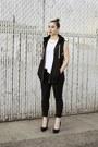 White-shirt-black-sleeveless-h-m-hoodie-black-pumps-nasty-gal-heels