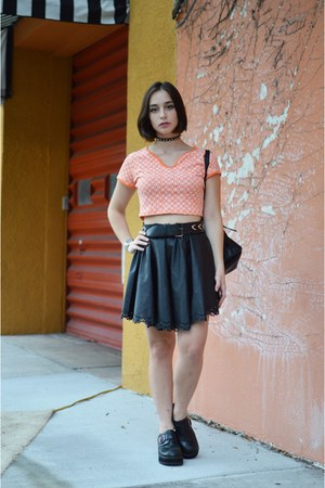 carrot orange crop top Vacant Moon shirt - black Dahlia Fashion skirt