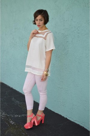 light pink pink Forever 21 jeans - white boxy Boohoo blouse