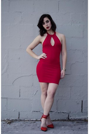 red Forever 21 dress - red shoe cult Nasty Gal heels
