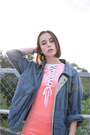 Navy-vintage-jacket-black-vintage-boots-salmon-velvet-unif-dress