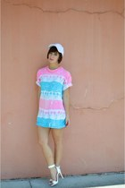 light pink shirt dress Nifty thrifty dress - white baseball cap hat hat